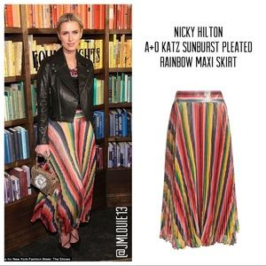 Alice + Olivia Katz Sunburst Rainbow Stripe Skirt